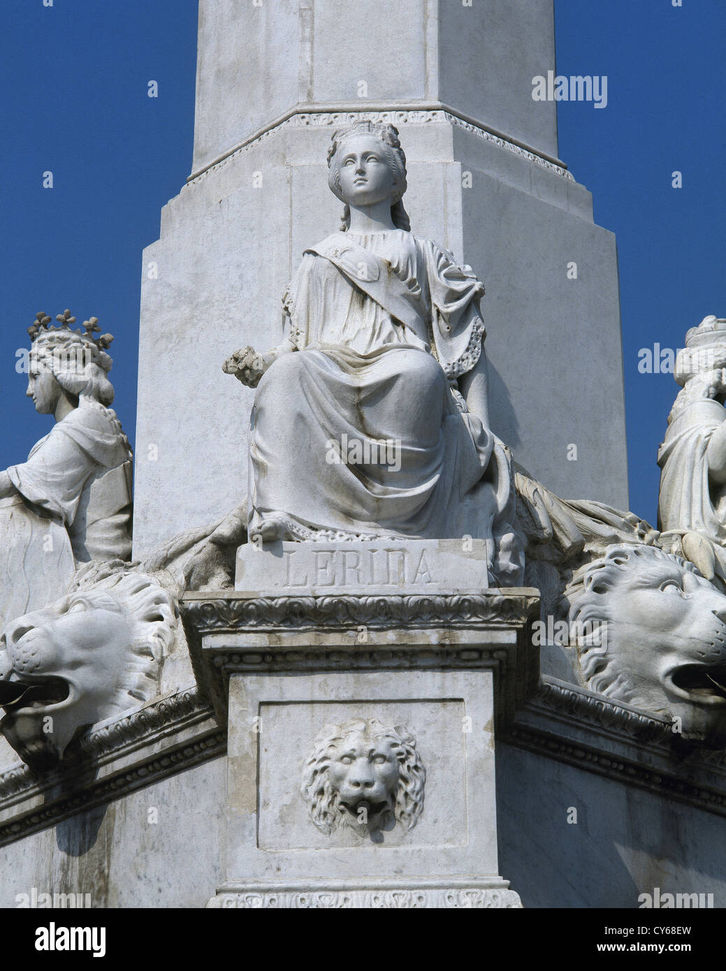 Spain. Catalonia. Barcelona. Fountain of Catalan Genius. Sculptures by Faust Baratta. Detail. - Stock Image