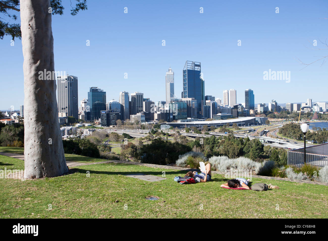 Perth CBD as seen from Kings Park, Perth, Western Australia Stock