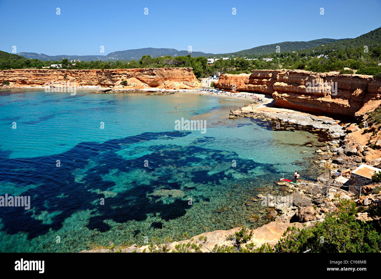Sa Caleta beach . Ibiza, Balearic Islands, Spain - Stock Image