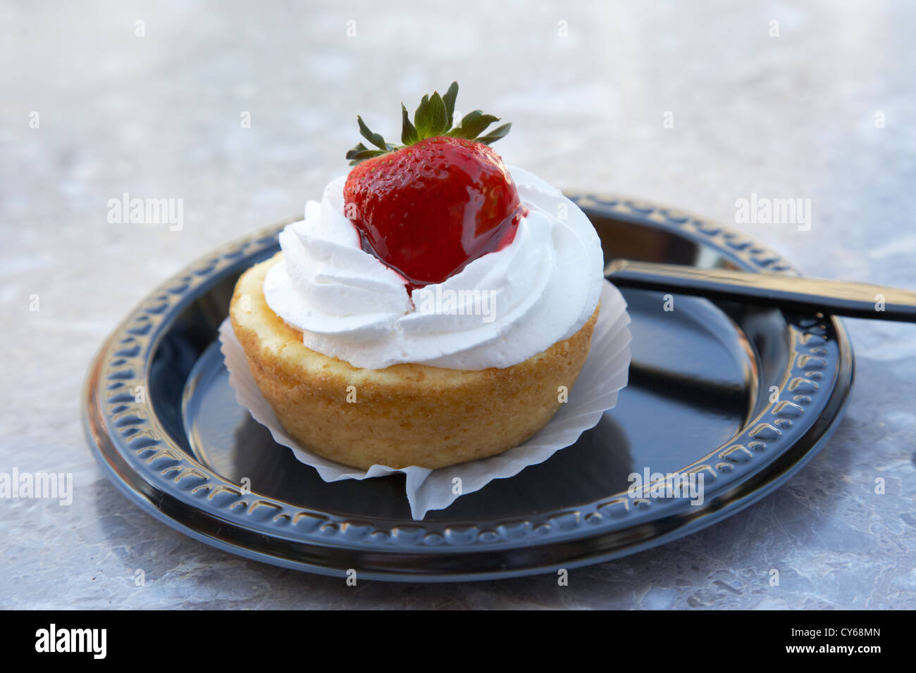 strawberry cheesecake pastry single serving on disposable plastic plate usa - Stock Image