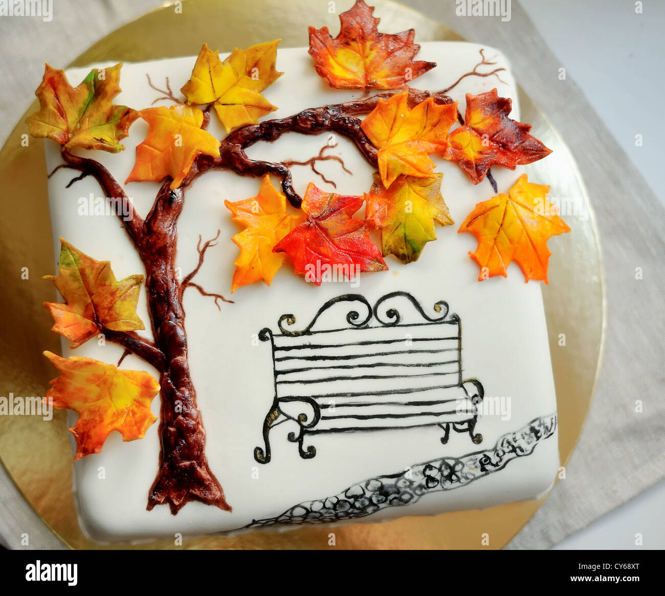 Miraculous Delicious Cake On White Painted Branch With Autumn Leaves And A Funny Birthday Cards Online Aboleapandamsfinfo