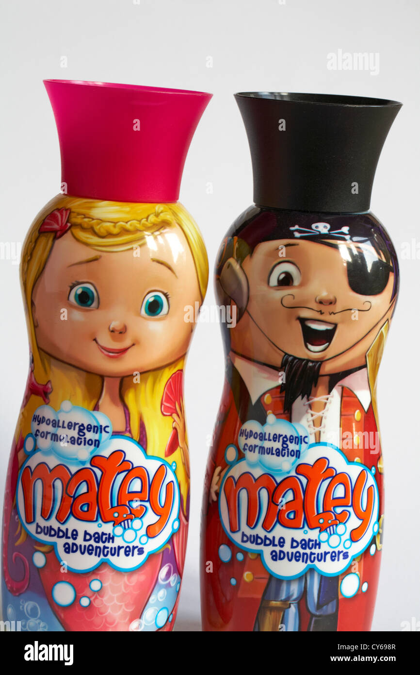 Two bottles of hypoallergenic formulation matey bubble bath adventurers set on white background - Stock Image