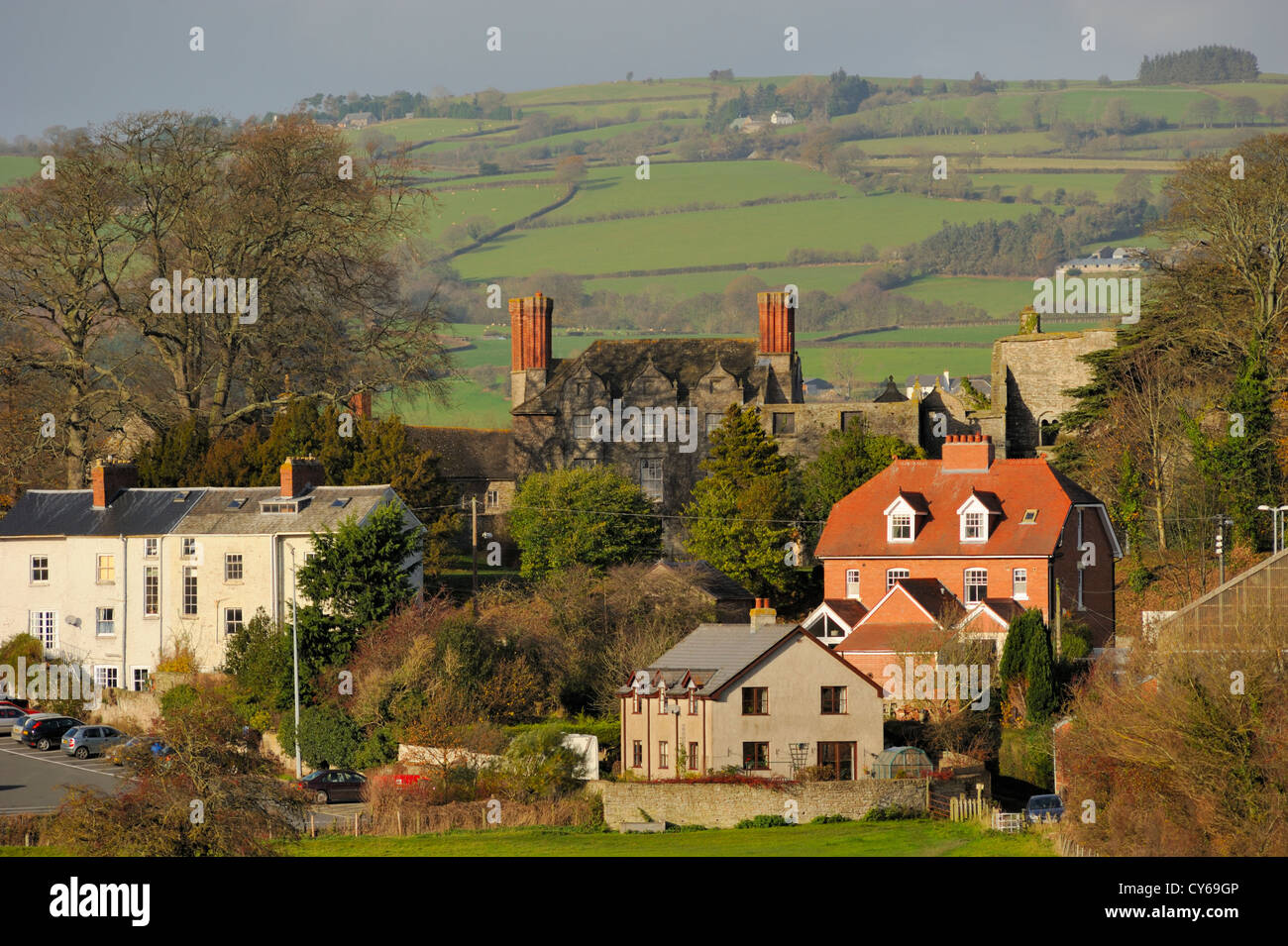 Hay Castle from Offa's Dyke Path - Stock Image