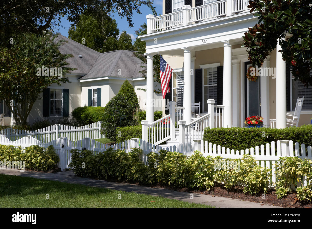 white picket fenced low density residential housing real estate in celebration florida usa - Stock Image