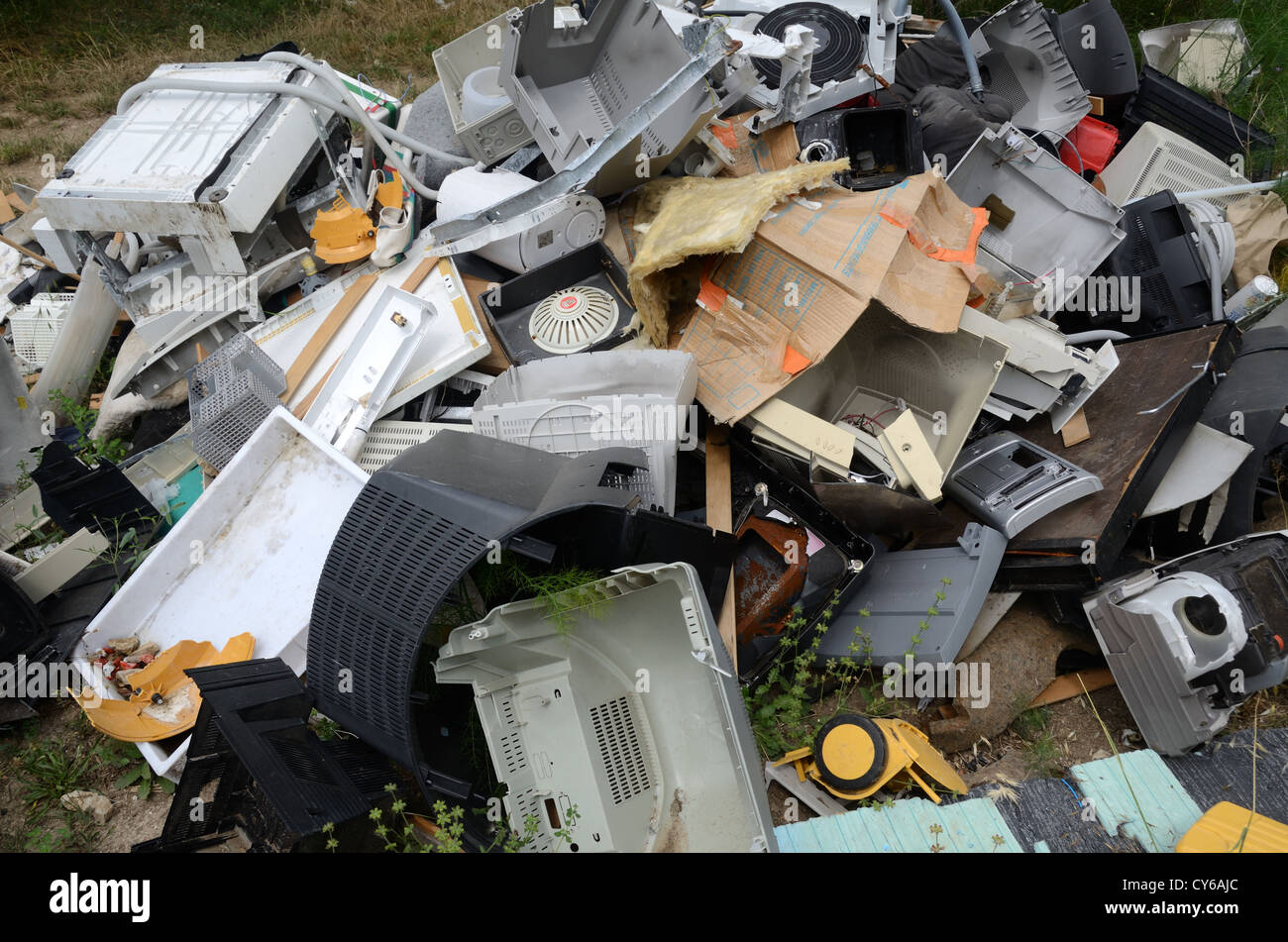 Discarded Computers on Waste Dump - Stock Image