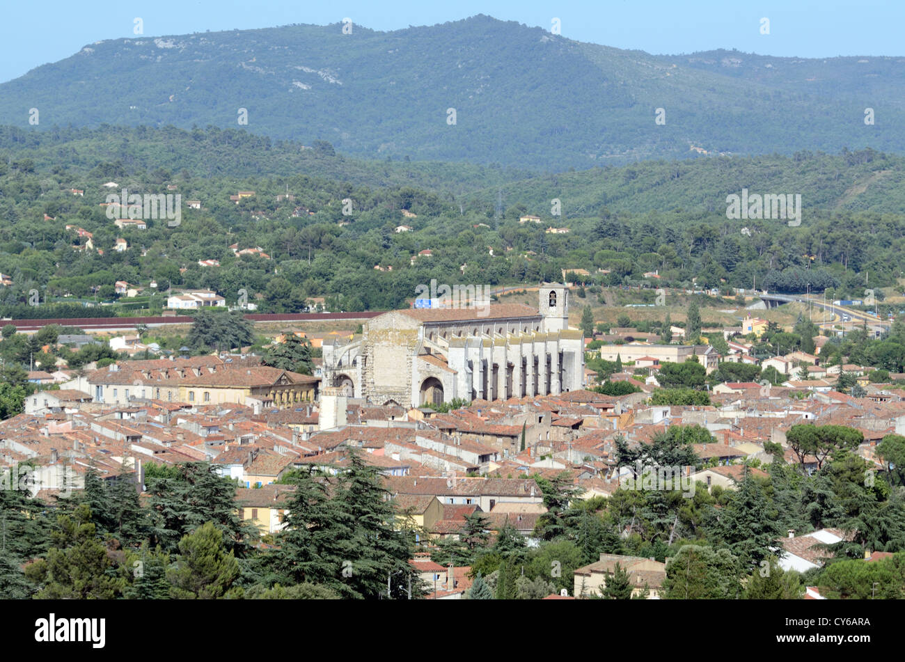 Panoramic View of the Basilica or Church of Mary Magdalene Saint-Maximin-la-Sainte-Baume Var Provence France - Stock Image