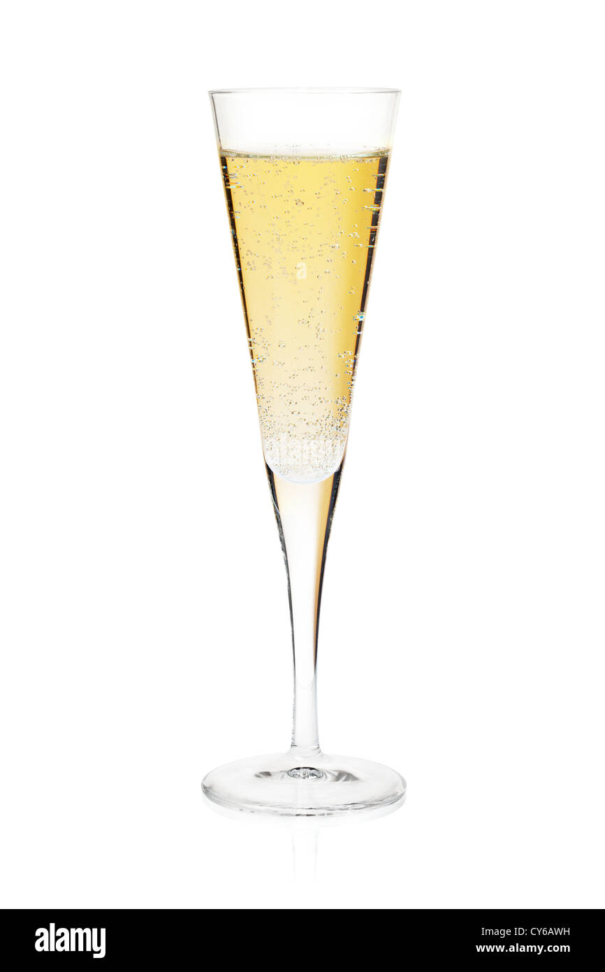 Champagne flute glass. Isolated on white background - Stock Image