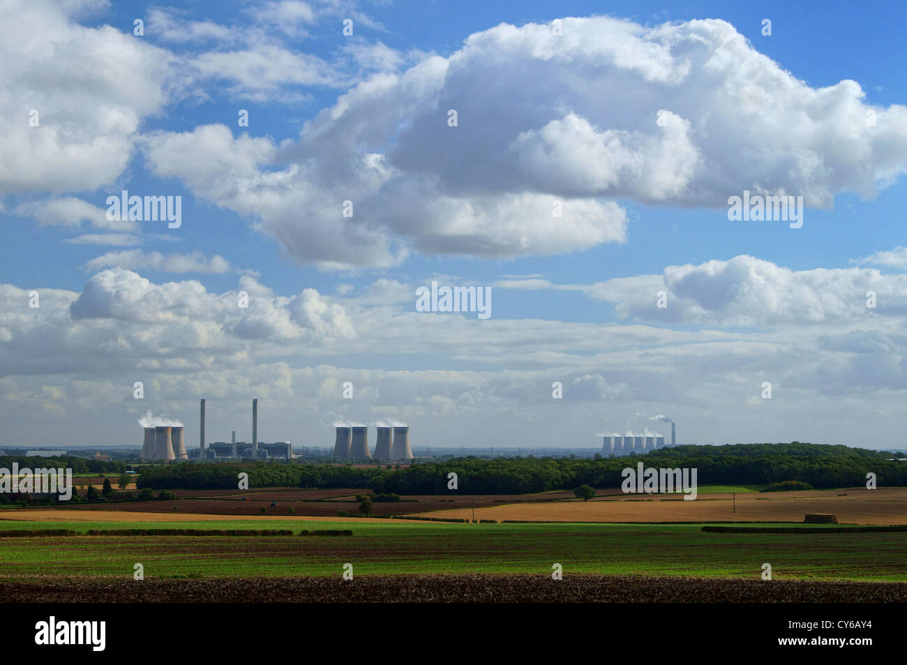 UK,Nottinghamshire,West Burton & Cottam Power Stations - Stock Image