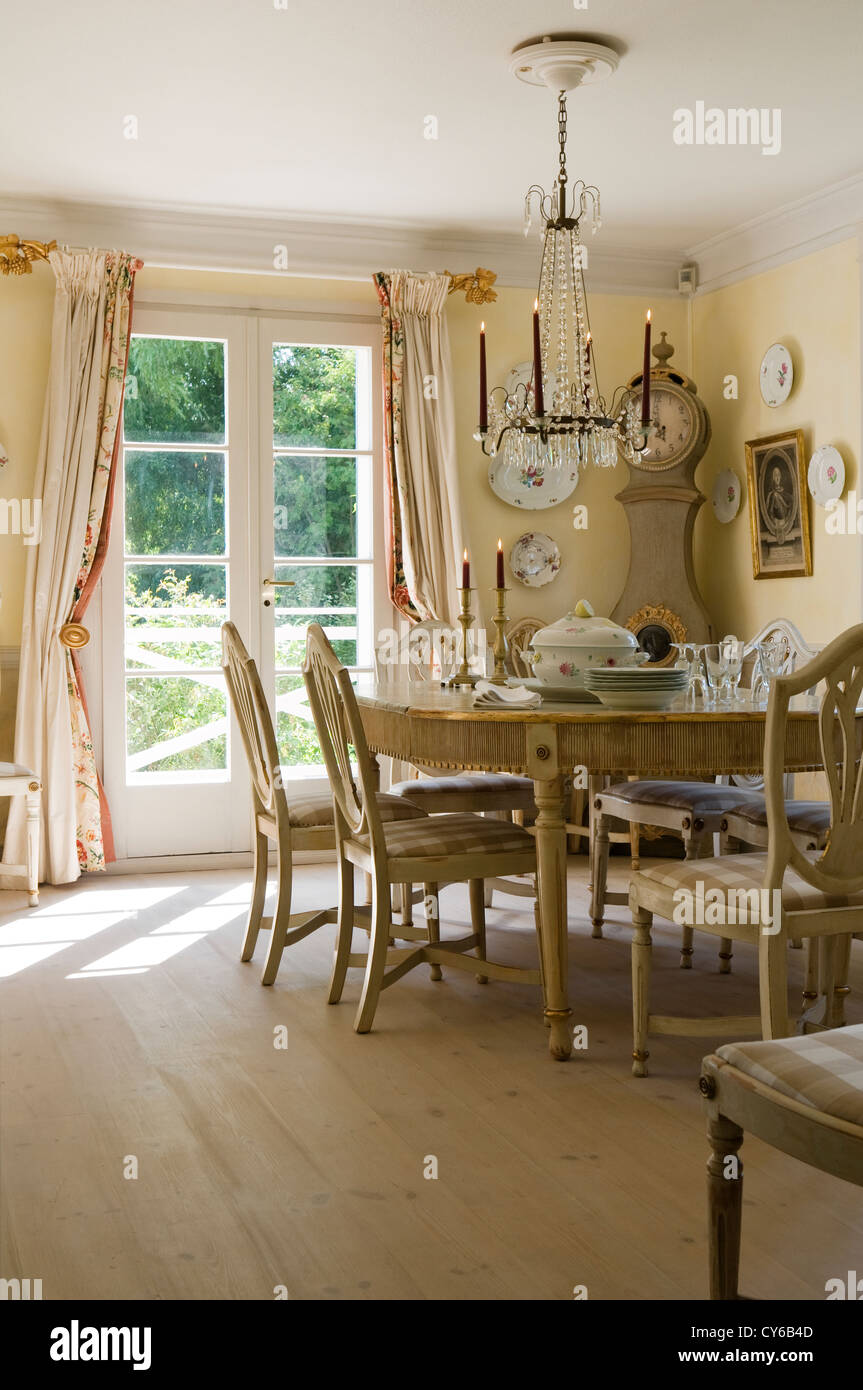 dining room in german farmhouse restoration dating from 1820s stock
