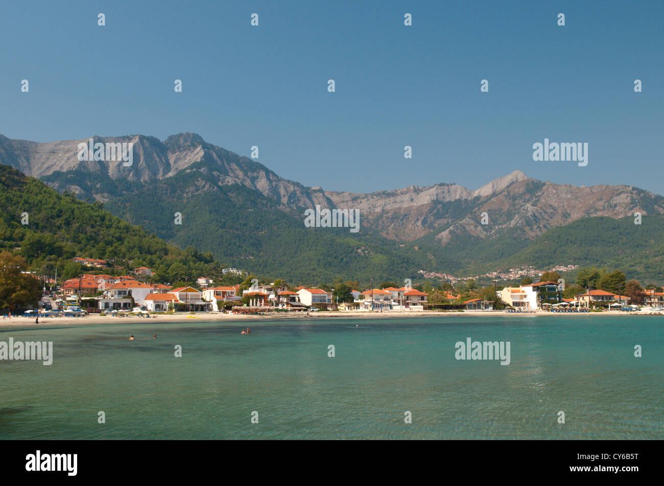 Thassos, Greece. Greek island. September. Golden Coast. Chrisi Akti/Skala Potamias. The beach. Stock Photo