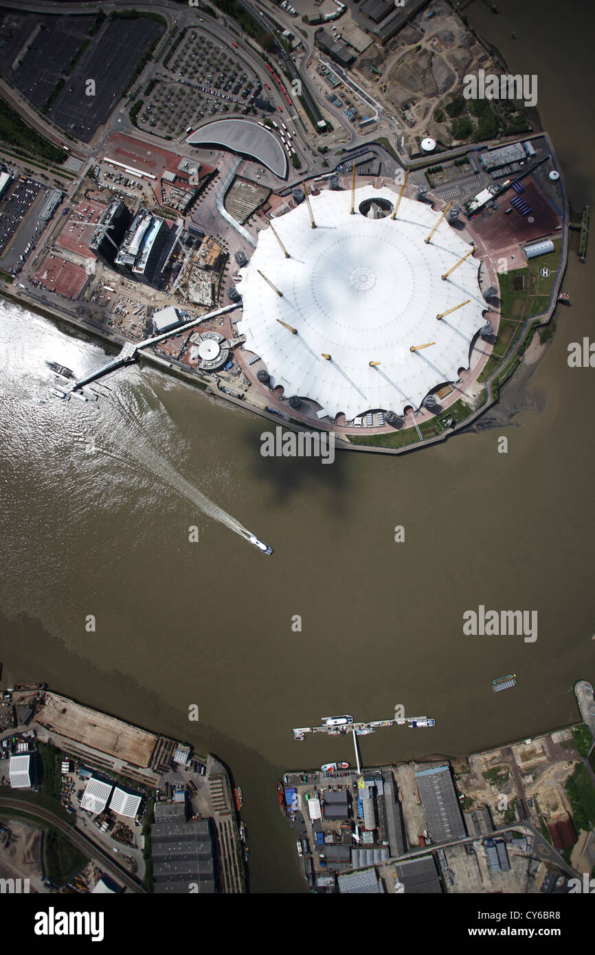 Aerial view of O2 Arena on the River Thames, London - Stock Image