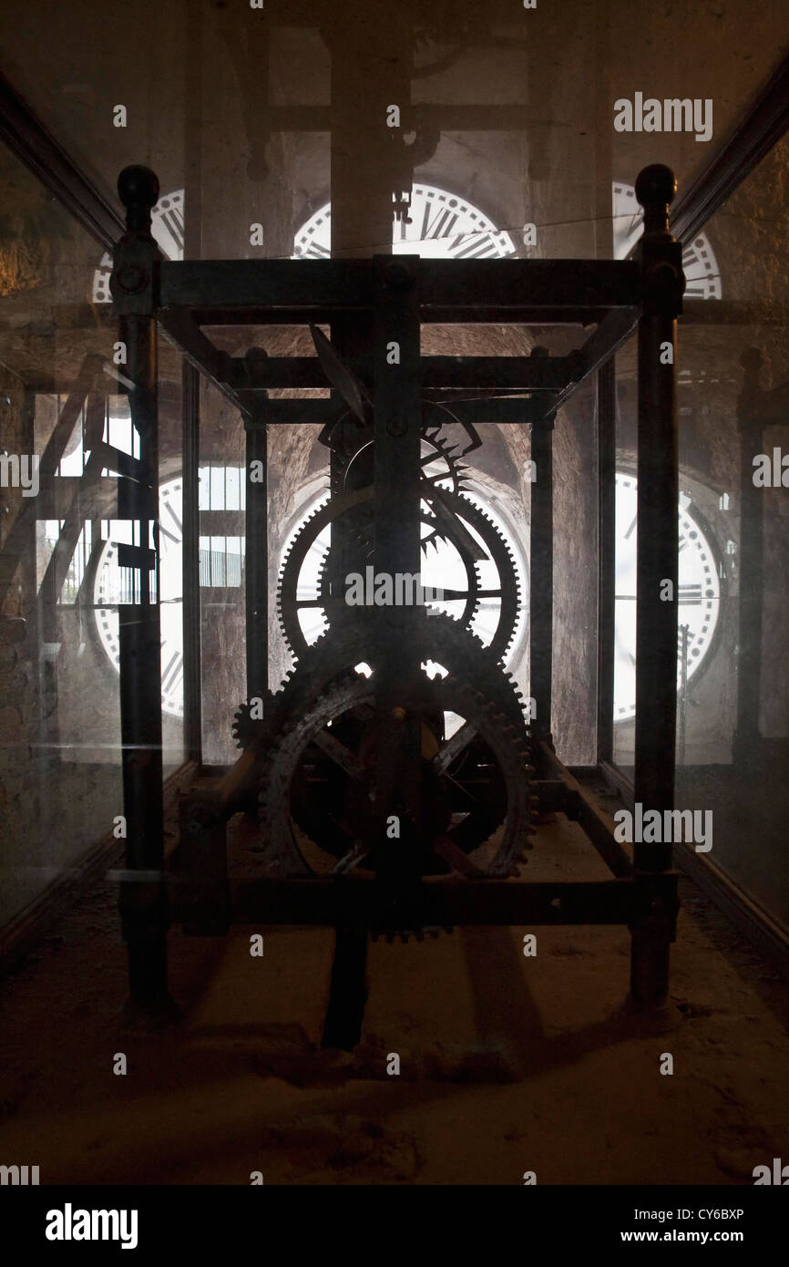 gears of the clock inside the tower of Massa Marittima (province of Grosseto, southern Tuscany, Italy) - Stock Image