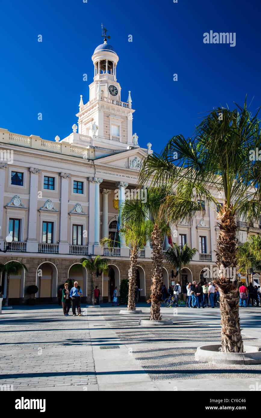 City council building in Plaza San Juan de Dios square Cadiz, Andalusia, Spain - Stock Image