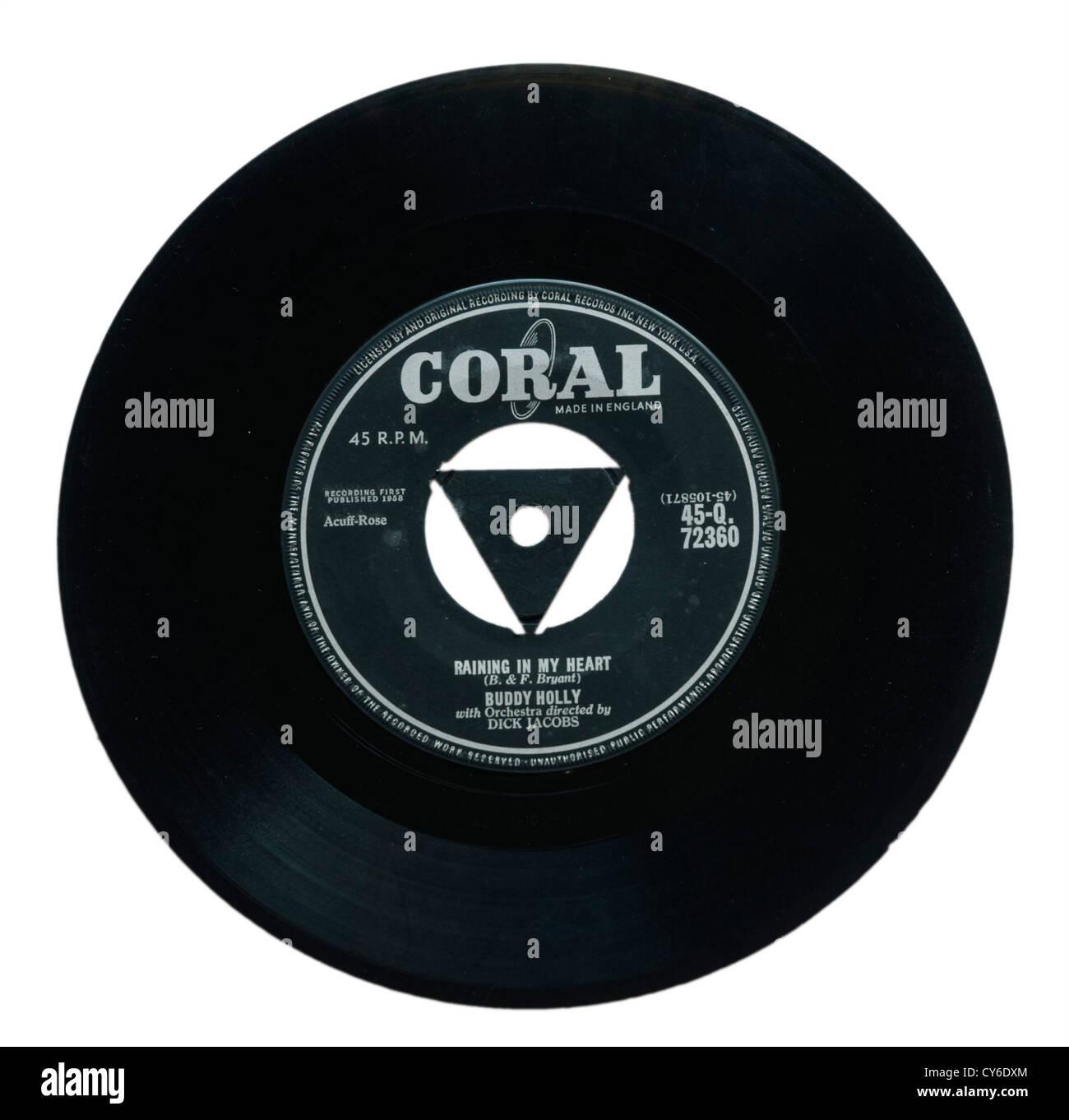 Buddy Holly Raining in my Heart single - Stock Image