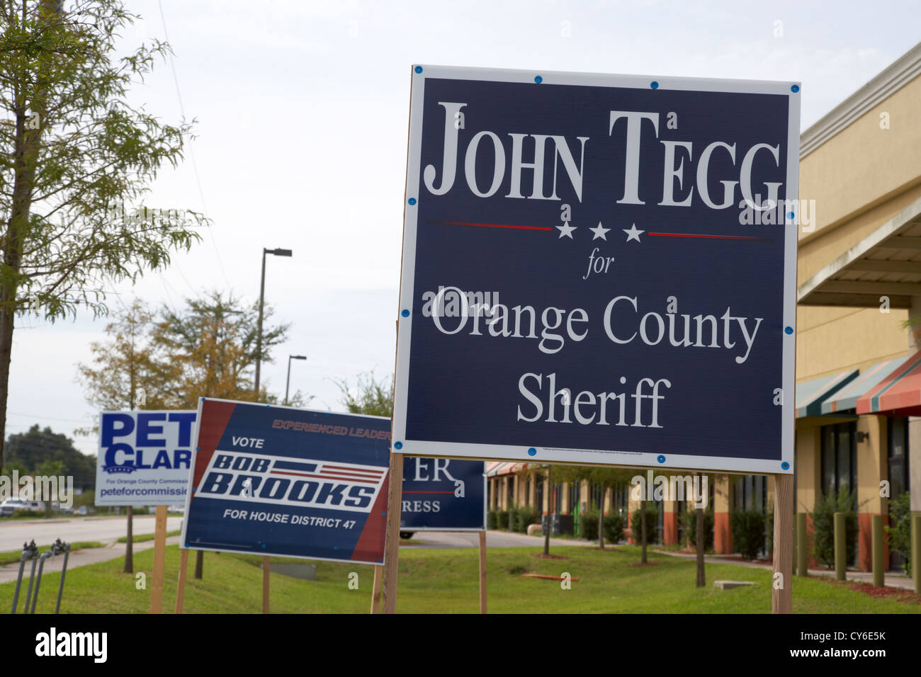 various election posters including sheriff house commissioner florida usa - Stock Image