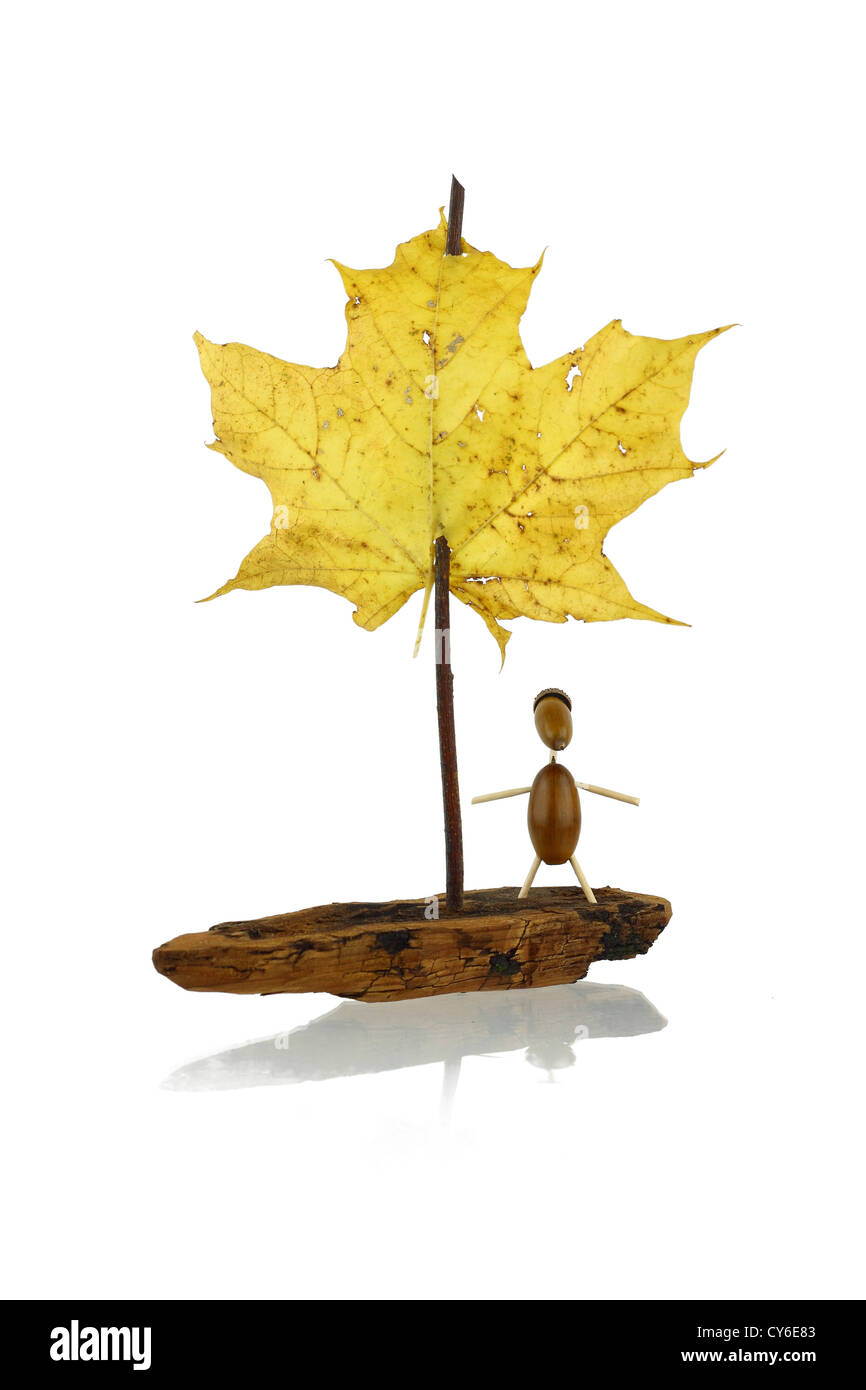 Toy sail boat from pine bark, twig and maple leaf with passenger from acorns isolated on white with shadow - Stock Image