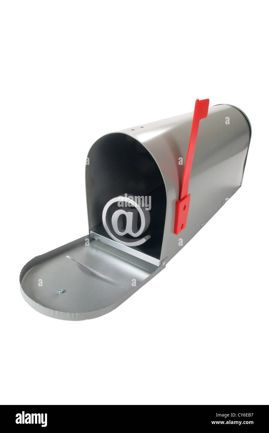 Mail box with arobase sign - Stock Image
