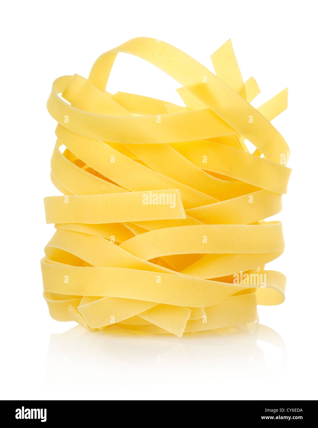 Pasta tagliatelle isolated on a white background - Stock Image