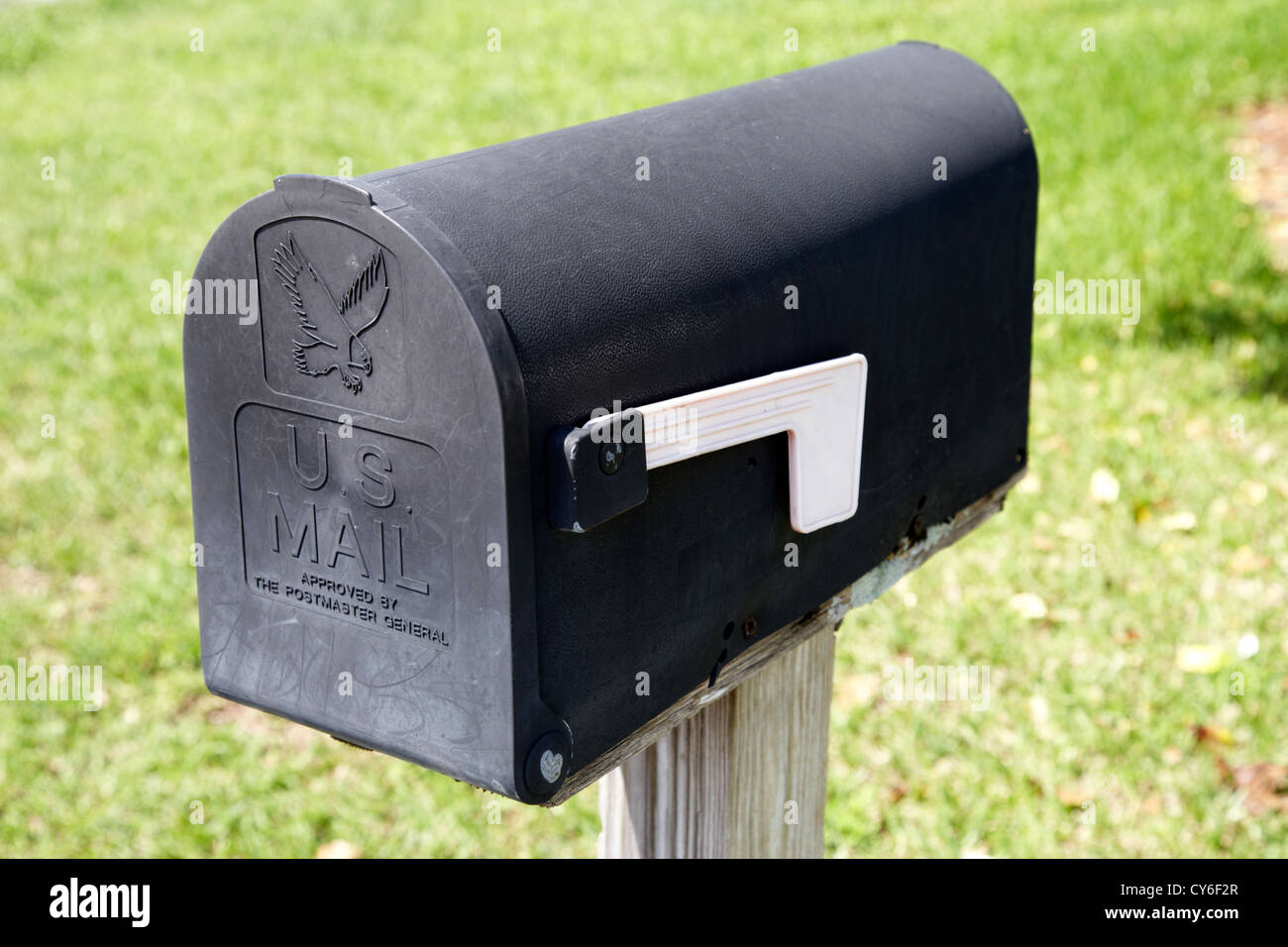 black us mail mailbox with flag lowered usa - Stock Image