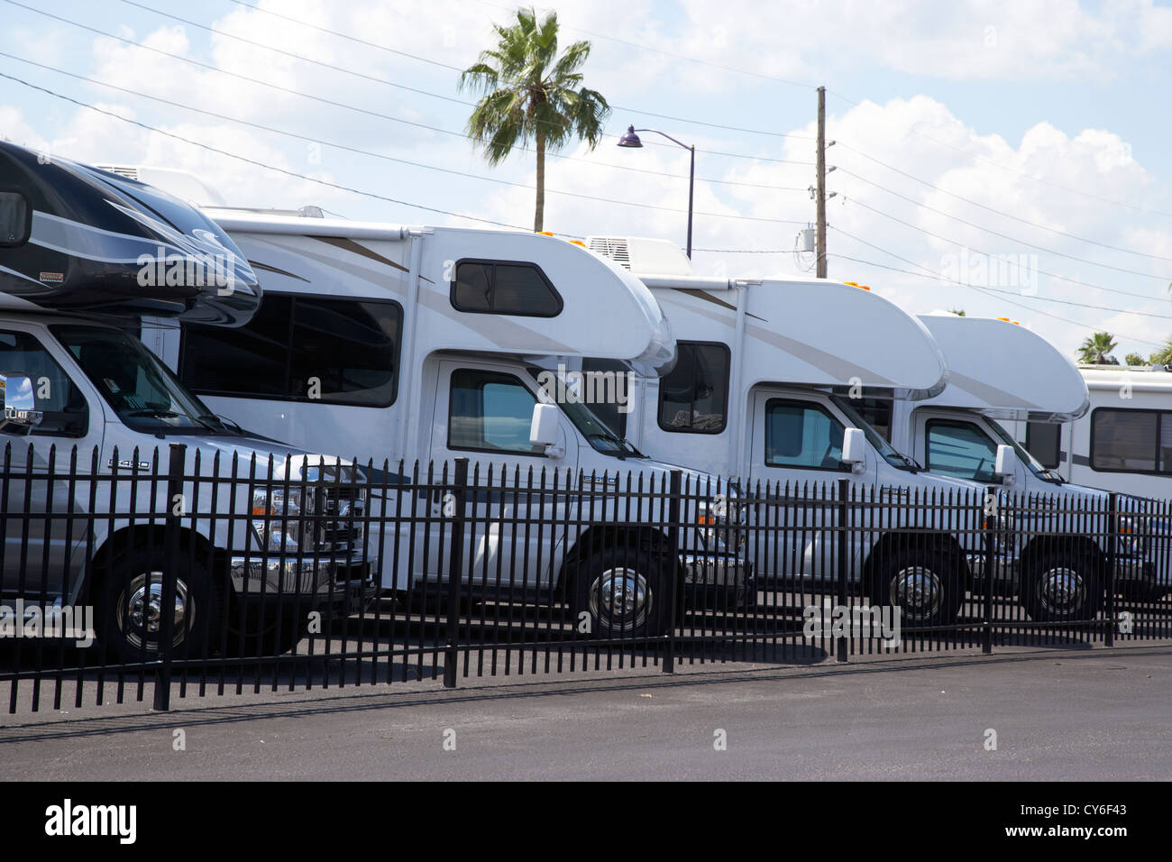 Row Of Small Motorhomes Rvs For Sale On A Lot In Florida Usa
