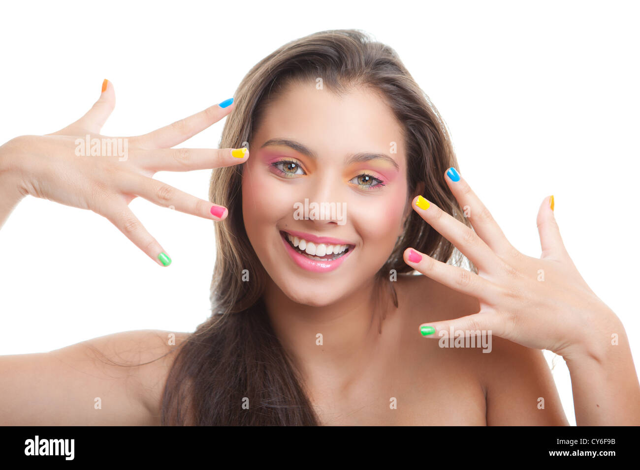 teen make- up young girl with coloured eye shadow and nails - Stock Image