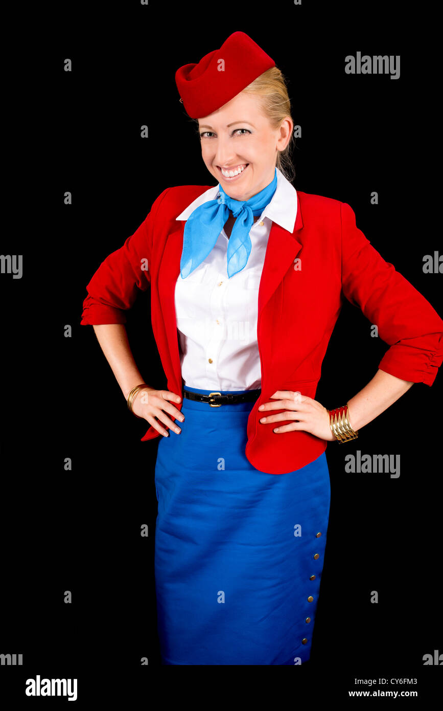 Retro Airline Attendant Isolated on Black. - Stock Image