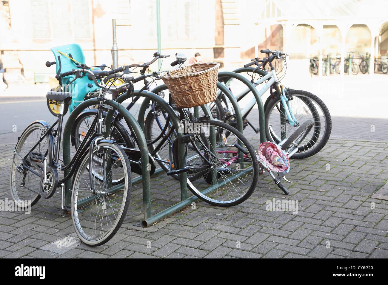 Bike jumble, city centre bike parking - Stock Image