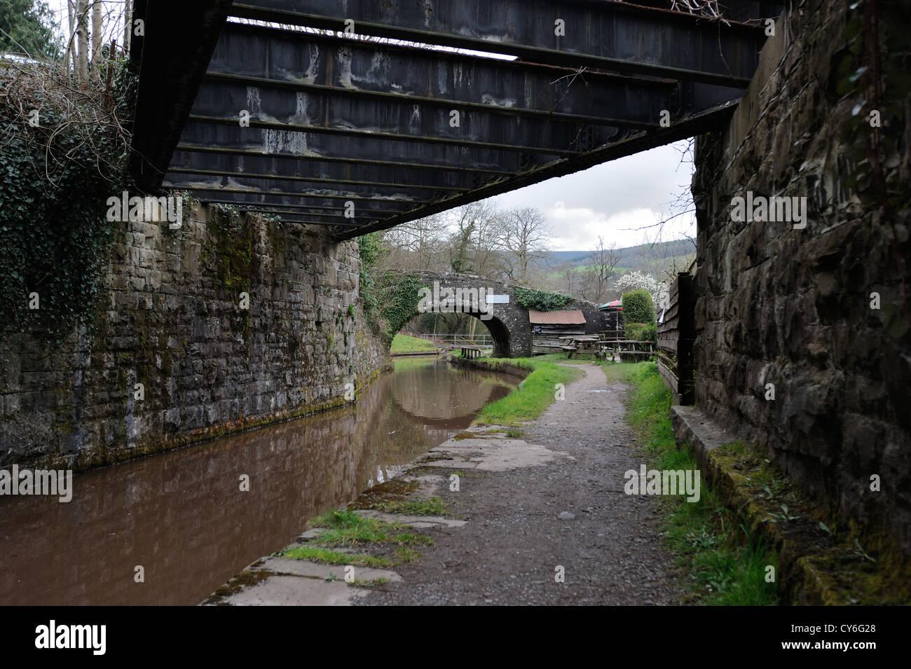 Talybont on usk canal bridges Stock Photo