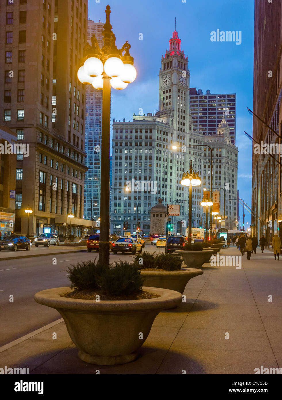 Chicago, Illinois View of the Wrigley Building on Michigan Avenue at night - Stock Image