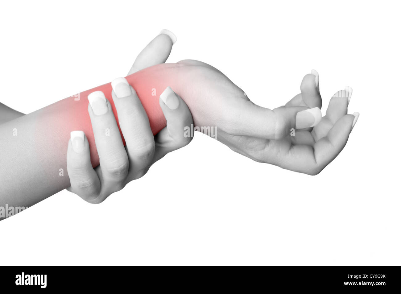 Female with pain in her wrist, isolated in a white background. Red circle around the painful area. - Stock Image