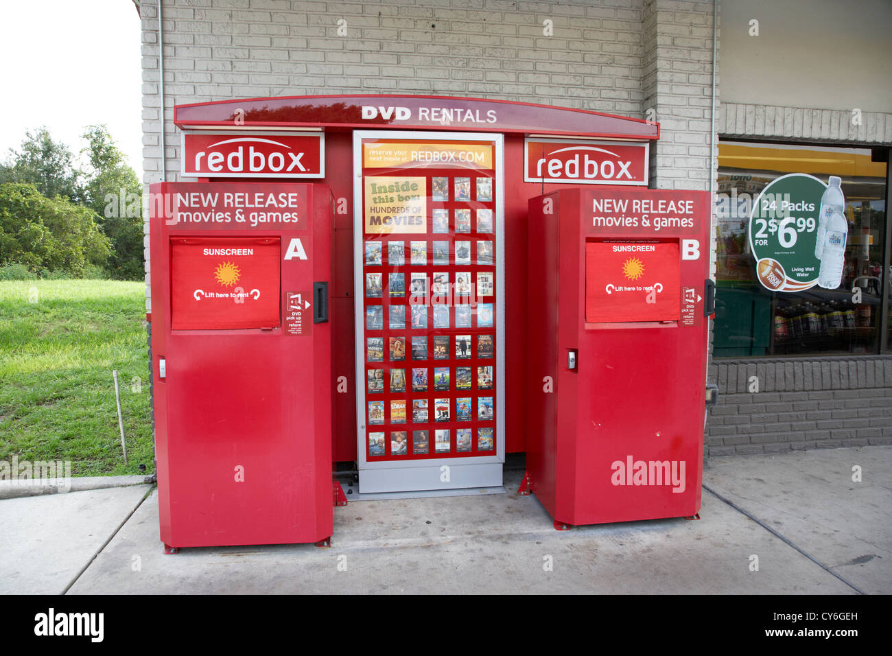 redbox dvd rental automated retail kiosk at a gas station