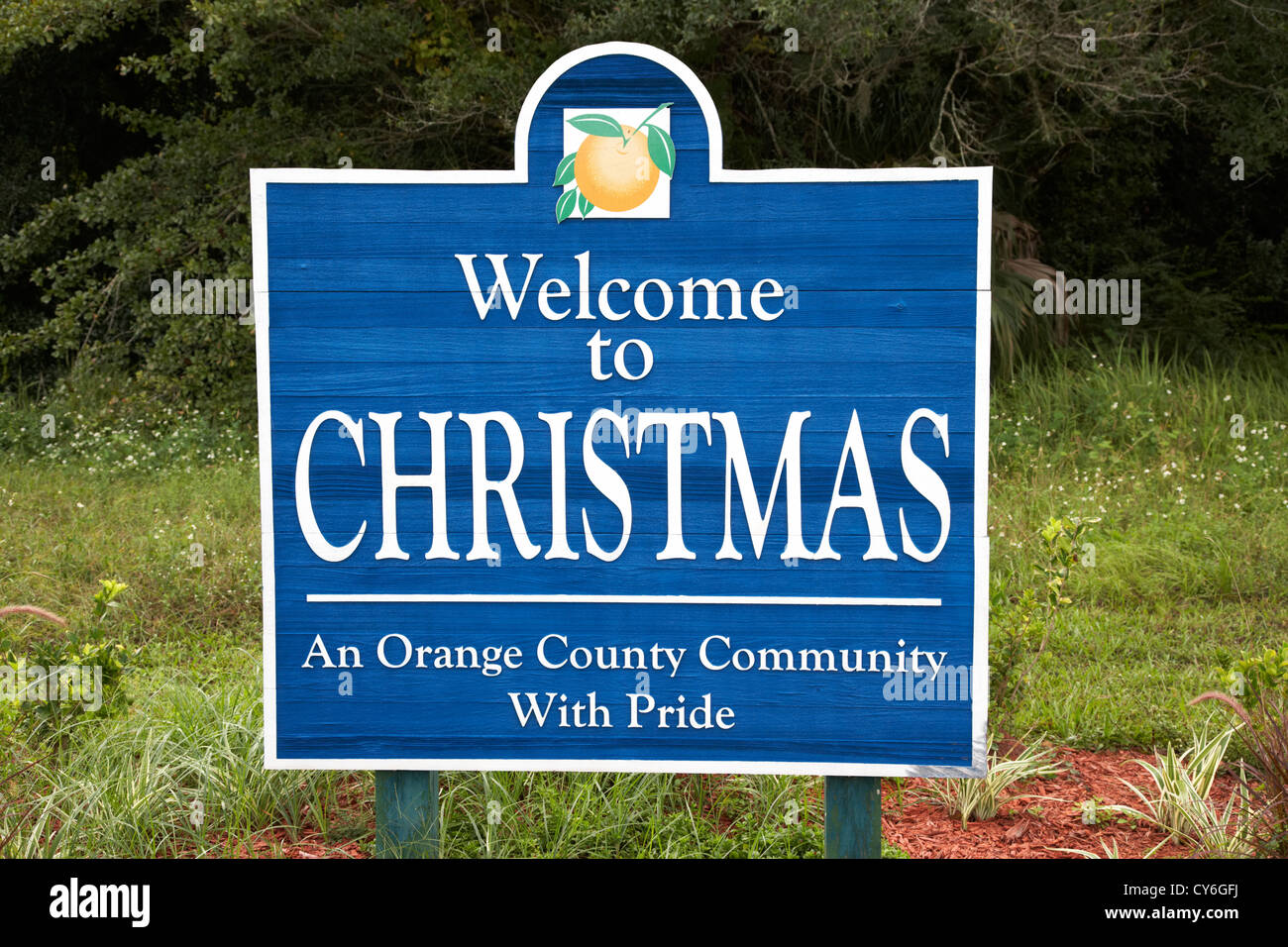 welcome to the town of christmas sign orange county florida usa - Stock Image