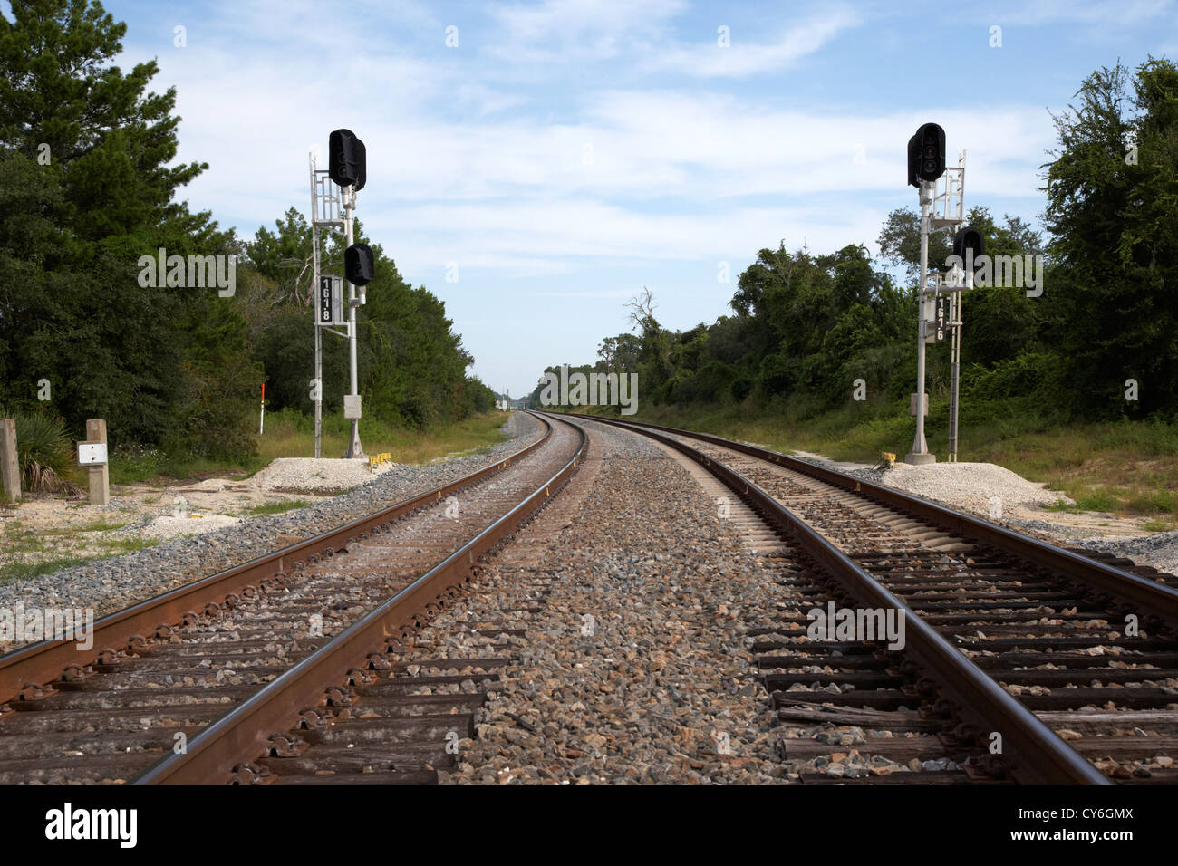 dual train tracks railroad florida usa - Stock Image