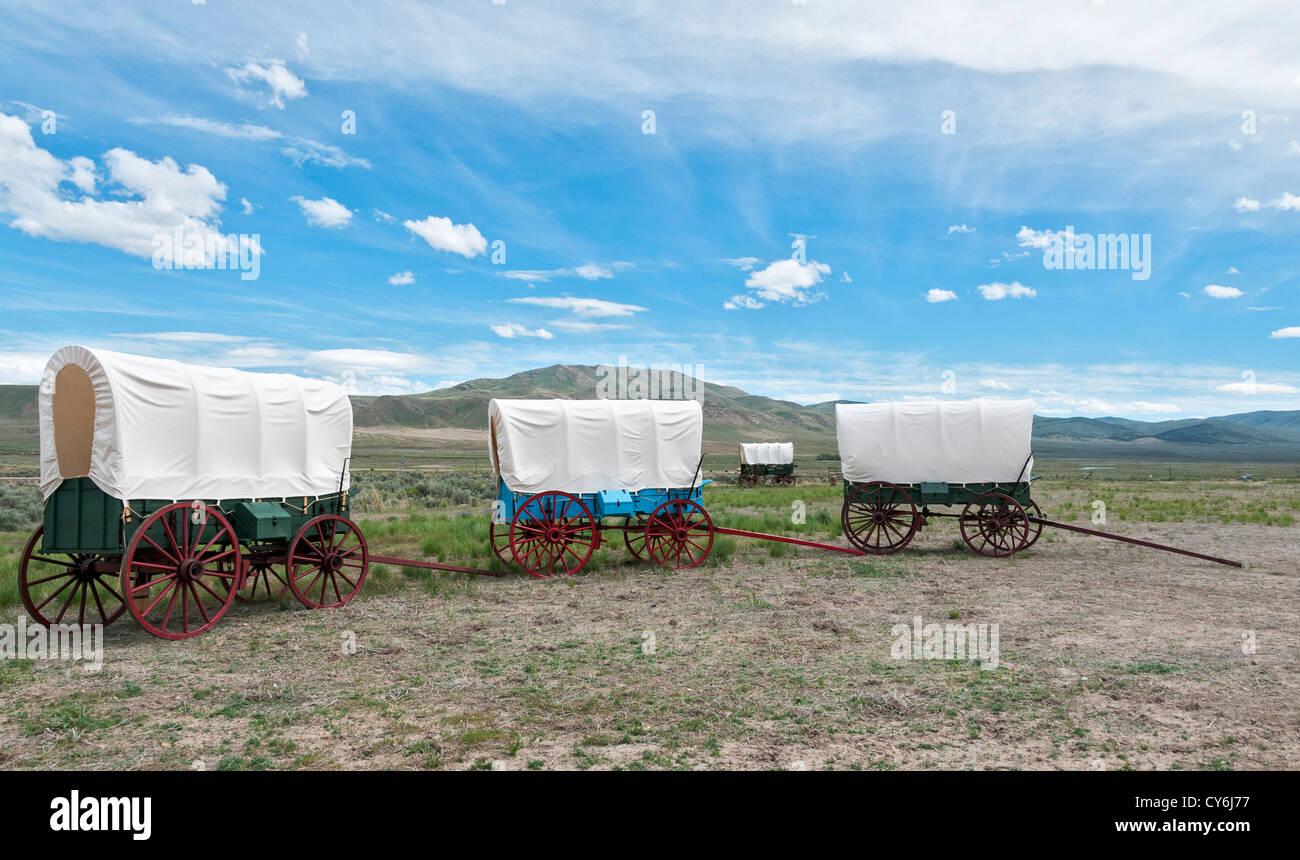 Nevada, Elko vicinity, California Trail Interpretive Center, wagon display - Stock Image