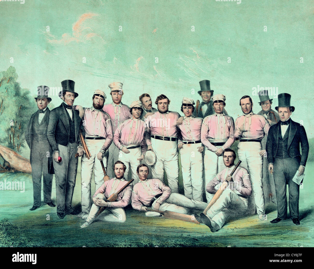 The eleven of New England - Cricket Match at Boston, Massachusetts, September 28th, 1850 - Stock Image