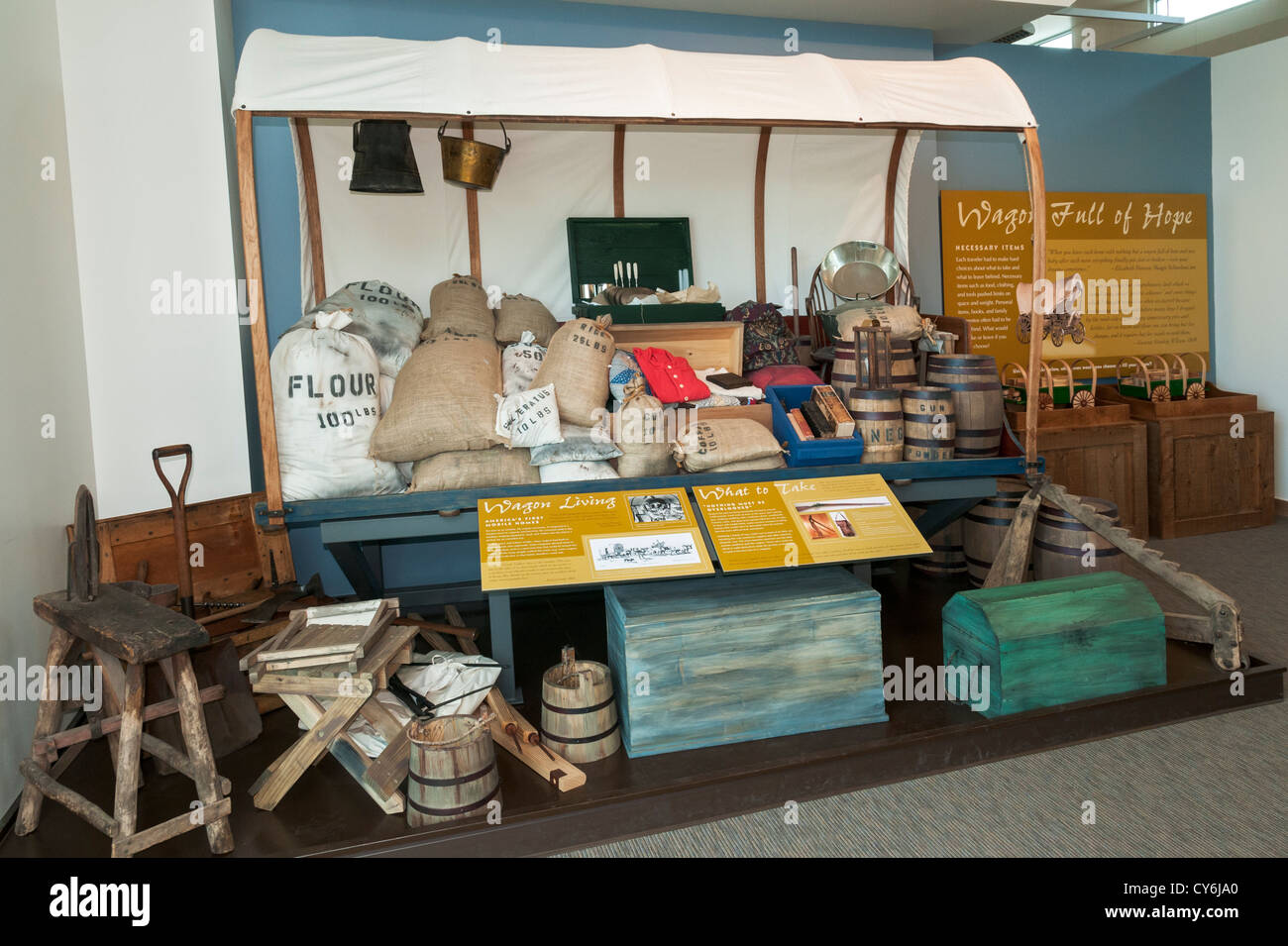 Nevada, Elko Vicinity, California Trail Interpretive Center, interior exhibit - Stock Image