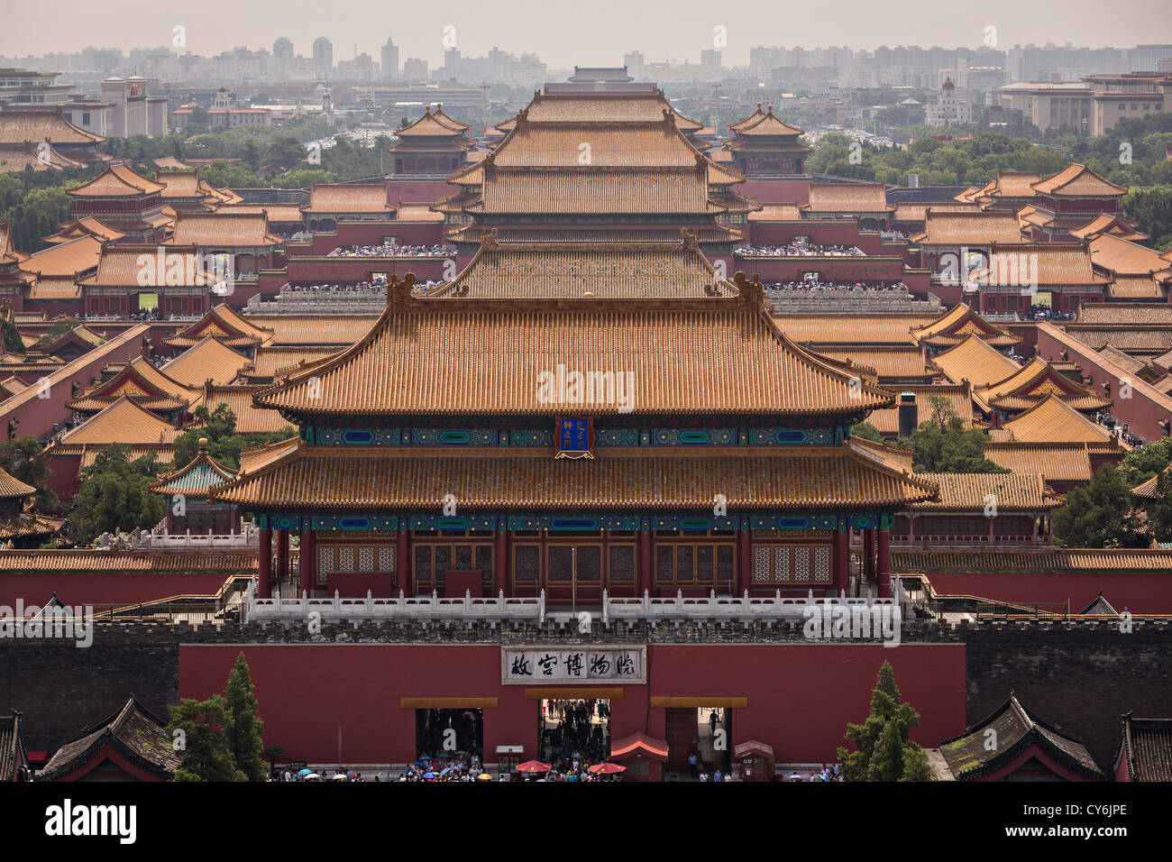 Aerial view of the Forbidden City as seen from Prospect Hill in Jing Shan Park during summer in Beijing, China Stock Photo