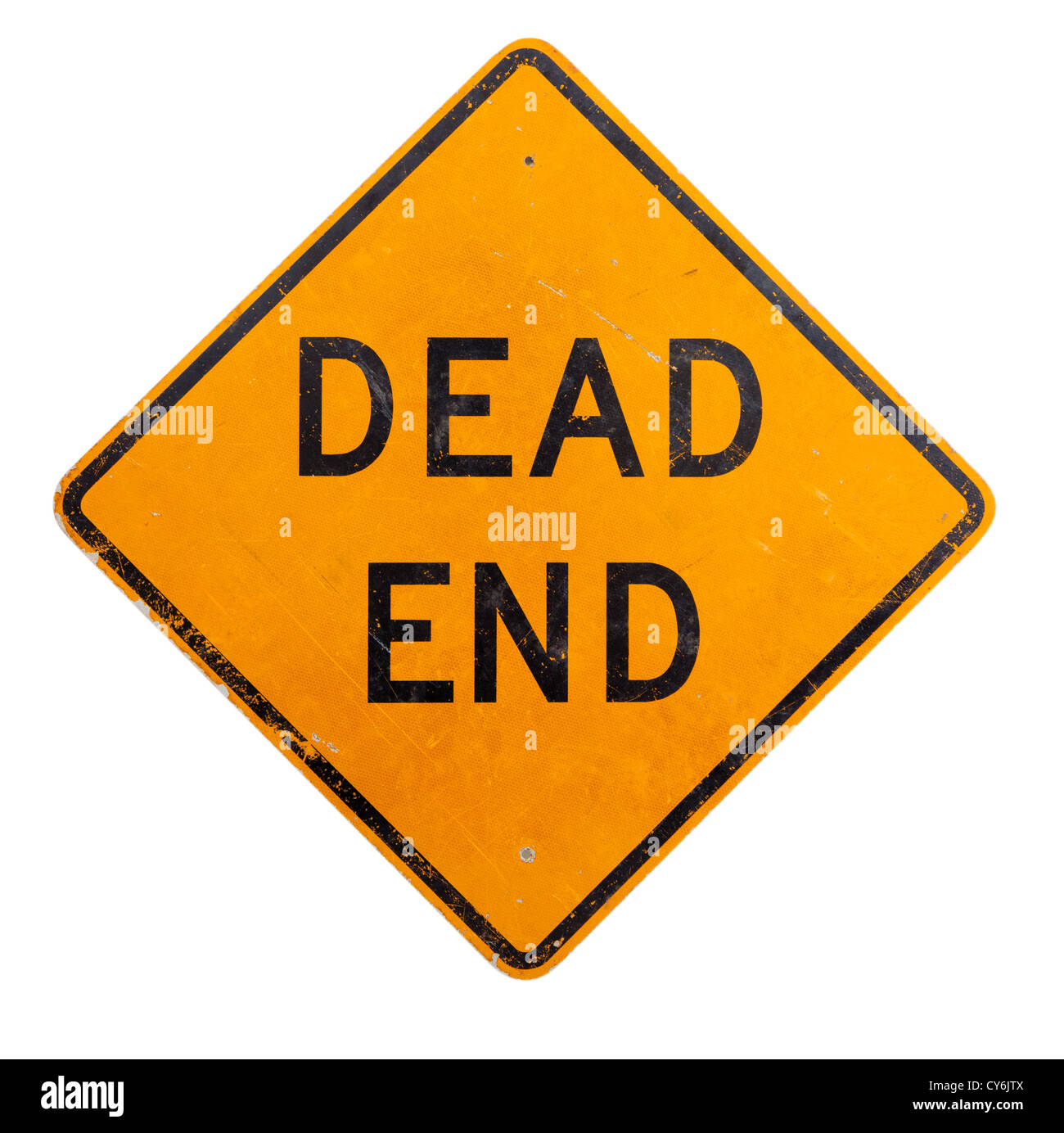 A yellow dead end road sign on a white background - Stock Image