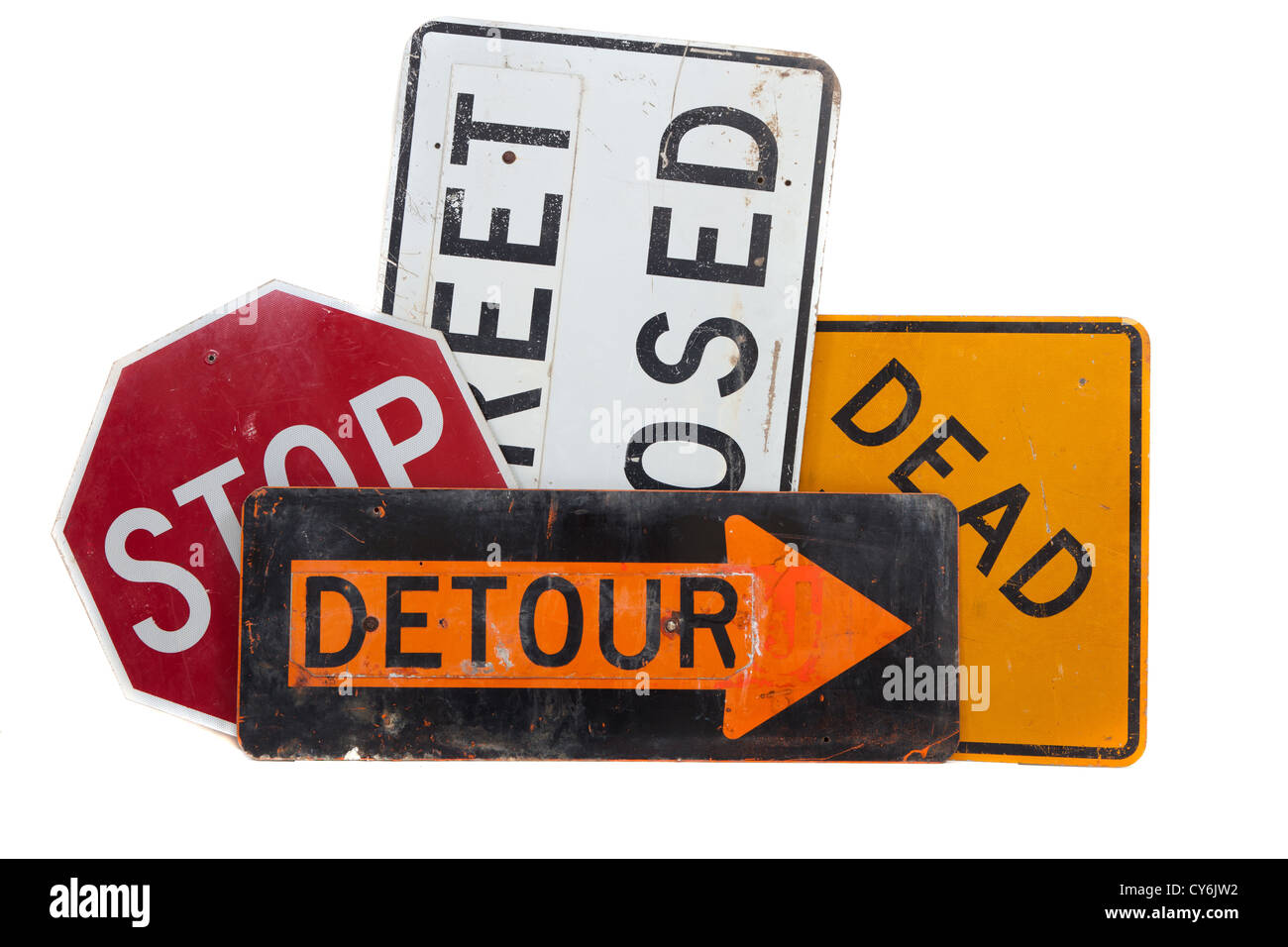 Assorted Road signs including dead end, stop, detour and street closed on a white background - Stock Image