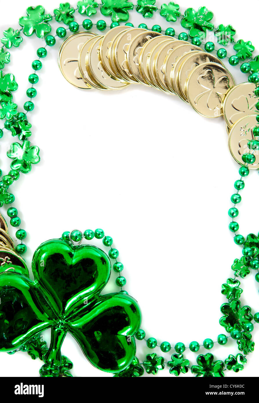 St Patricks Day Border Including Green Shamrock And Gold Coins On A White Background
