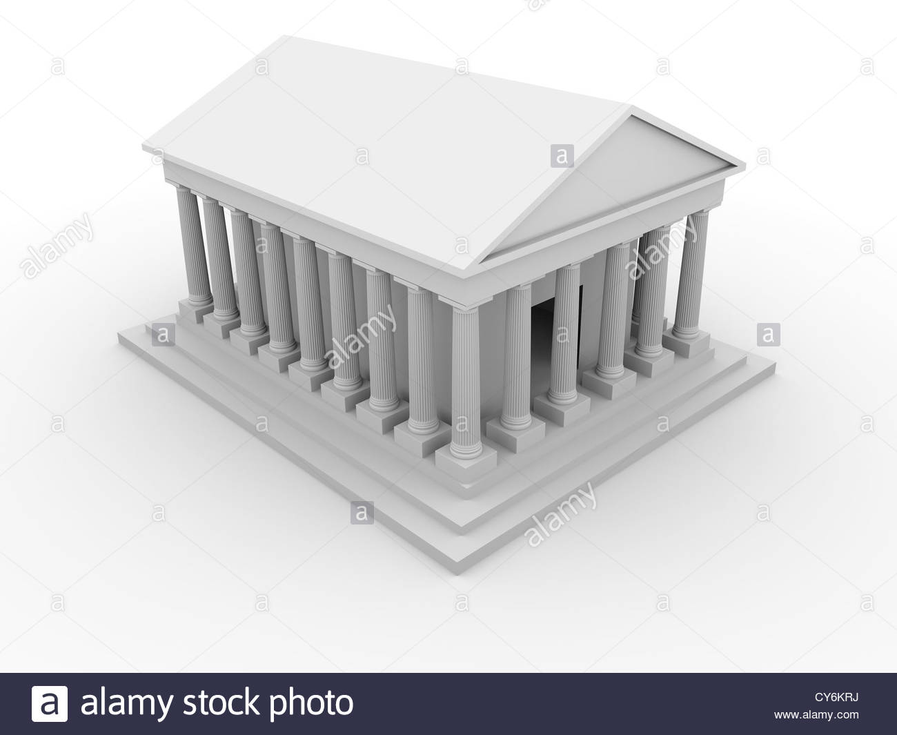 Illustration of an ancient greek temple with columns - Stock Image