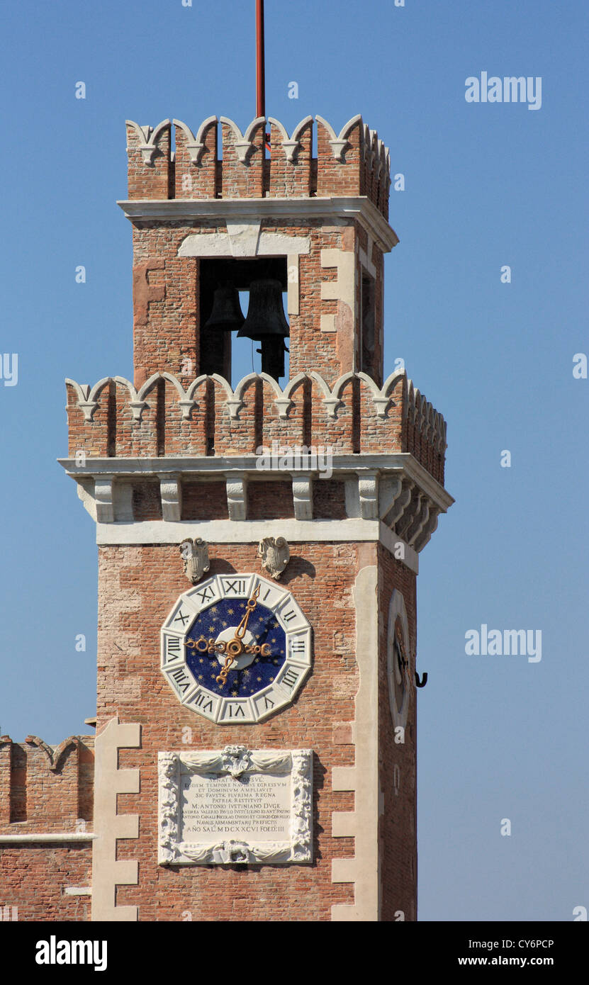 Clock tower, Porta Magna, Arsenale, Castello, Venice - Stock Image