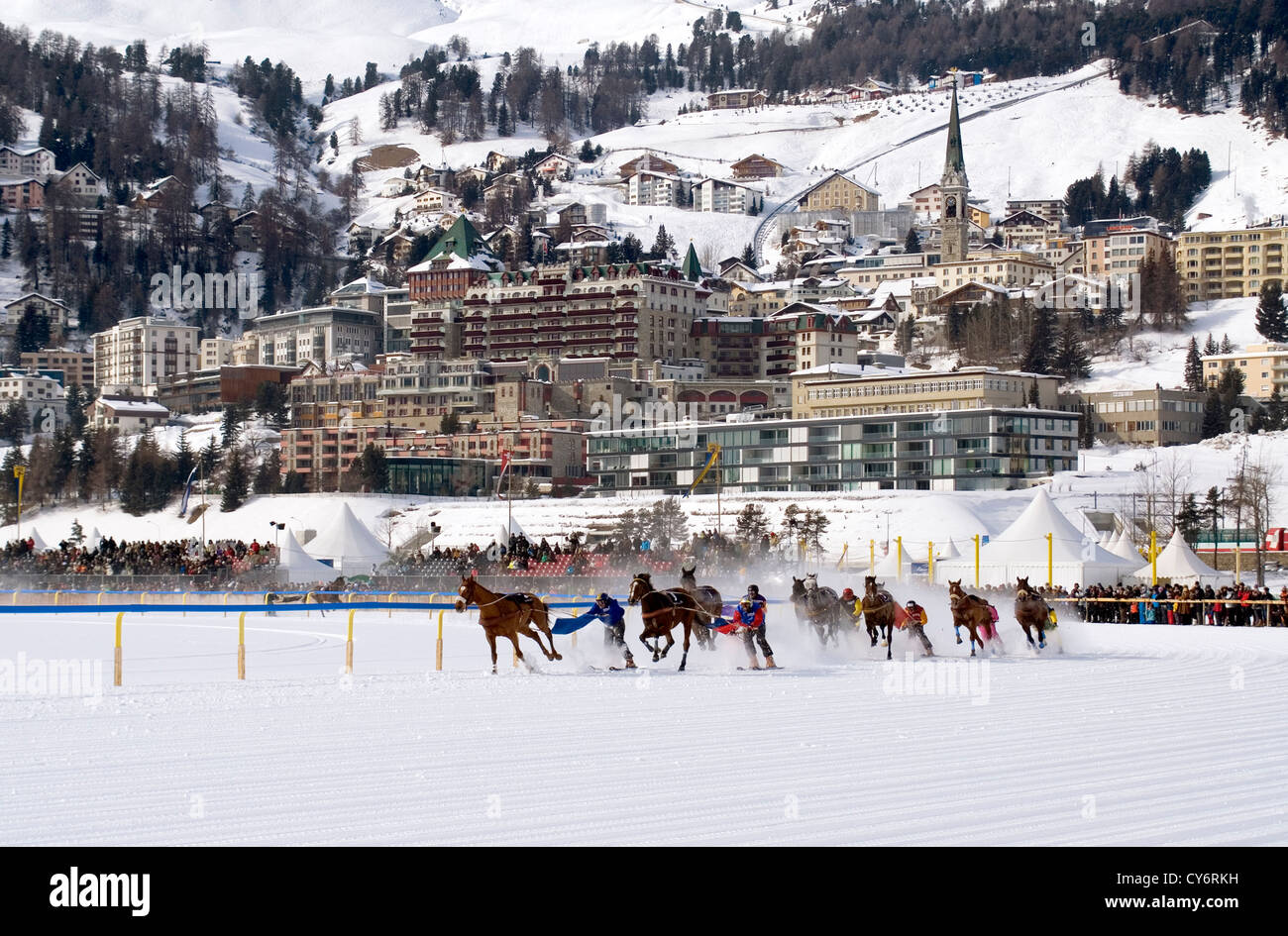 Skijöring race during White Turf in St.Moritz, Switzerland | Skijöring Rennen waehrend White Turf in St.Moritz, - Stock Image