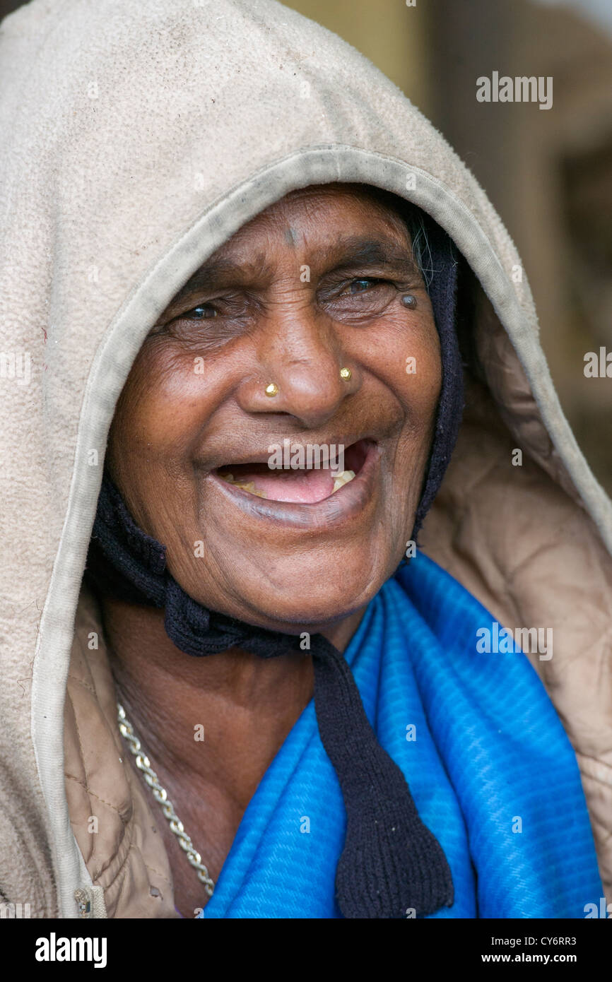 Portrait Of An Old Toothless Woman Laughing At A Foodstall Near Munnar Kerala India