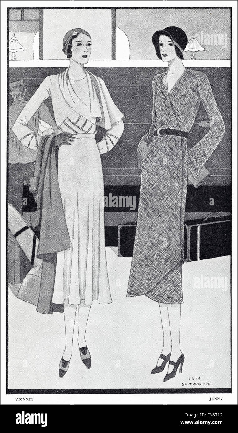 Original 1930s magazine illustration of Paris summer fashion. (left) Beige crepe frock trimmed with hand hemstitching - Stock Image