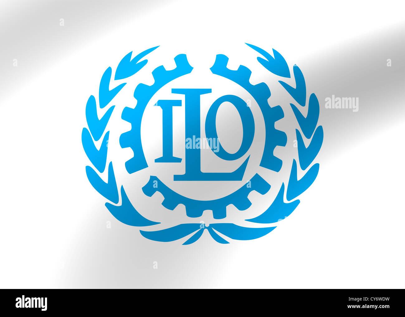 ILO - International Labour Organization logo symbol flag - Stock Image