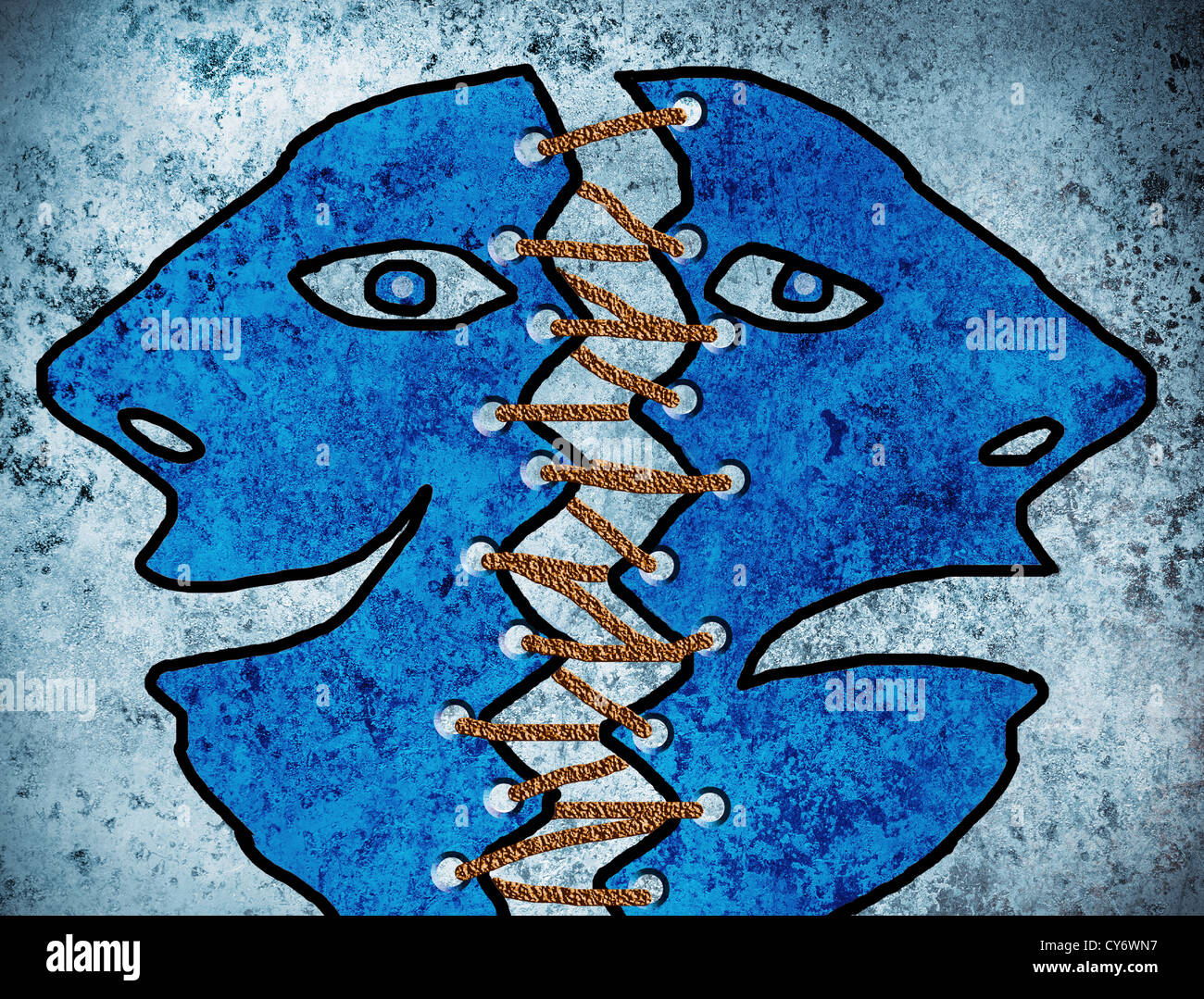 double personality blue illustration concept - Stock Image