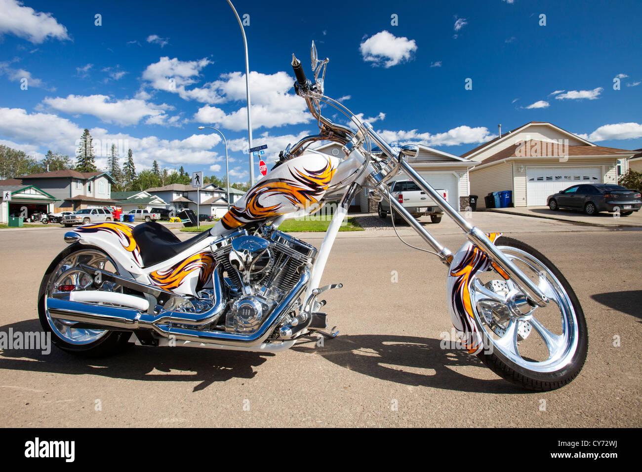 American Iron horse, Texas chopper motorbike Stock Photo