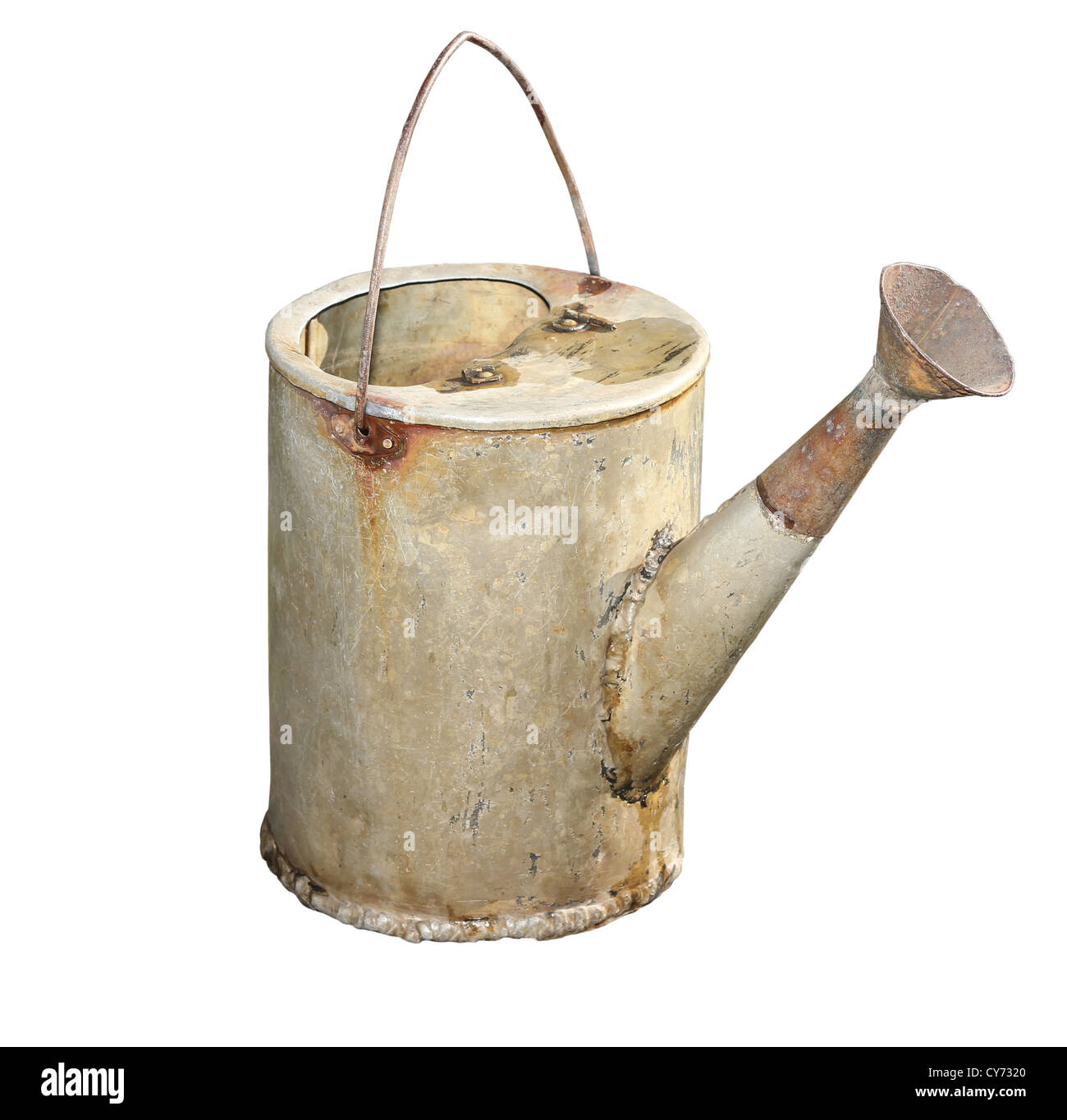 Old galvanized watering can isolated on white background. - Stock Image