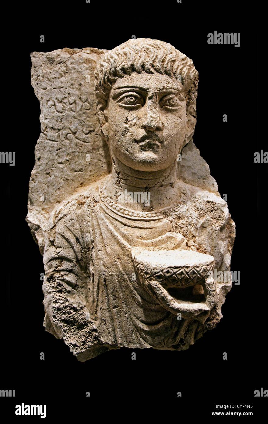 Gravestone with bust of a  man 2nd century AD Palmyra Limestone 51 cm Syria Syrian - Stock Image